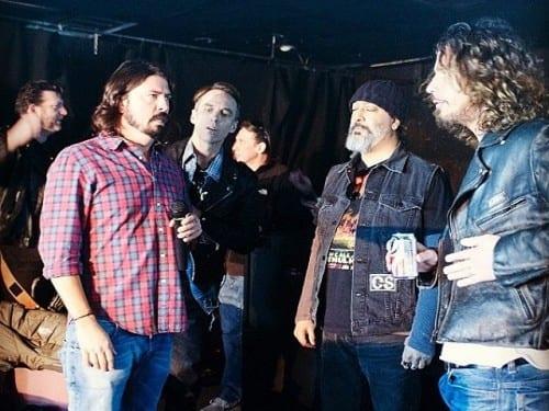 Soundgarden y Dave Grohl en el set de filmación