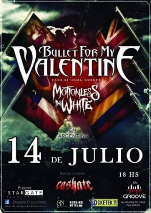 BULLET FOR MY VALENTINE y MOTIONLESS IN WHITE en Buenos Aires, Argentina