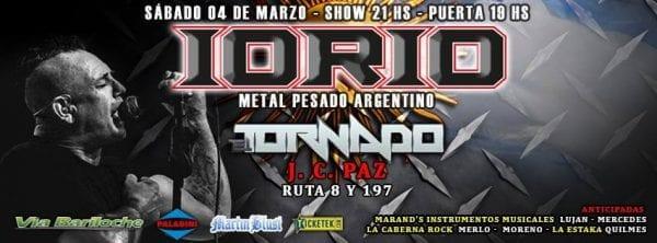IORIO volverá a Zona Oeste para dar su primer show en José C Paz, Buenos Aires. @ Tornado Rock | José C. Paz | Buenos Aires | Argentina