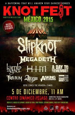 El KNOTFEST de SLIPKNOT llegará a México por primera vez. Megadeth, Lamb of God, HIM y muchas bandas más han sido confirmadas
