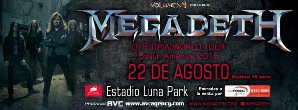 MEGADETH regresará a Buenos Aires en Agosto para dar dos shows en el Luna Park @ Estadio Luna Park | Buenos Aires | Ciudad Autónoma de Buenos Aires | Argentina