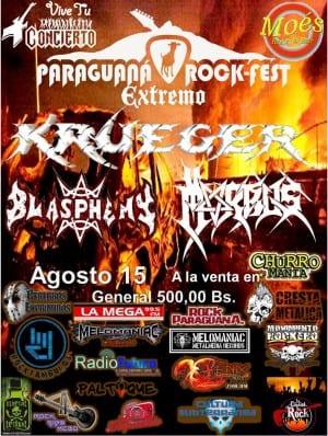 PARAGUANA ROCK FEST: KRUEGER, MORBUS y BLASPHEMY llegarán a Punto Fijo este 15 de Agosto