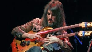 "ENGLEWOOD, NJ - JUNE 19:  Ron ""Bumblefoot"" Thal of Guns & Roses with the ""Guitar Gods"" 2014 tour at Bergen Performing Arts Center on June 19, 2014 in Englewood, New Jersey.  (Photo by Steve Sands/Getty Images)"
